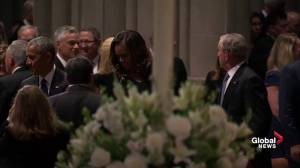 John McCain funeral: Barack and Michelle Obama, Bill and Hillary Clinton arrive at Washington National Cathedral