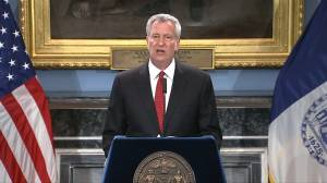 New York mayor says Eric Garner officer ruling is 'step towards justice'