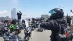 Large 'mob of motorcycles' shut down Toronto highway as police watch from above