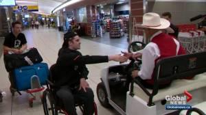 Ryan Straschnitzki returns to Calgary after rehab in Philadelphia