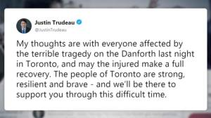 Trudeau sends support in wake of Toronto Danforth shooting