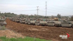 Dozens of tanks remain situated on Israel-Gaza border