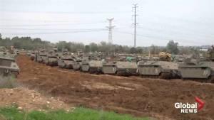 Dozens of tanks remain situated on Israel-Gaza border