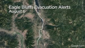 Eagle Bluff wildfire now estimated at 280 hectares in size