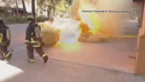 Florida firefighters escape injury in manhole explosion