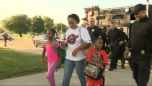 Son of cop killed in the line of duty gets full police escort to his first day of school