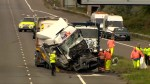 Aftermath of British motorway crash, several killed