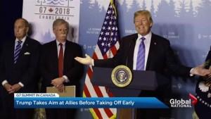 Trump shows disdain and defiance at G7
