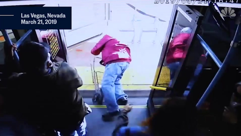 Elderly man dies after woman pushed him off Las Vegas bus