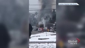 Video from Columbia Valley Pioneer shows house fire in Radium Hot Springs