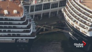 Cruise ships collide in Vancouver's Canada Place