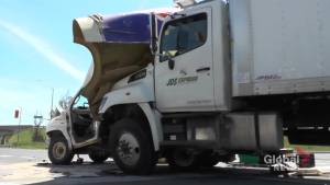 Two injured after commercial trucks collide at The Parkway in Peterborough