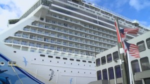 Mammoth cruise ship sails into Victoria Harbour