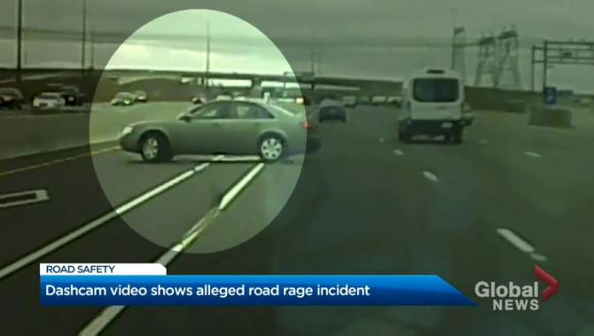 Video appears to show driver swerving into vehicle on Hwy