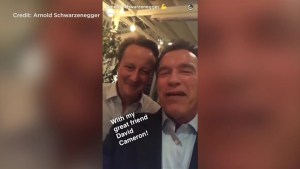 Ex-UK PM Cameron jokes 'I'll be back' in video clip with Schwarzenegger