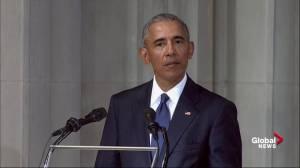 John McCain funeral: Barack Obama recalls senator's 'mischievous streak' in tribute
