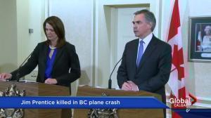 'It's a very hard day': Danielle Smith talks passing of friend, colleague Jim Prentice