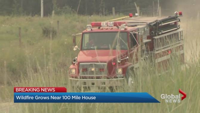 Wildfire Burning West Of 100 Mile House B C Grows To