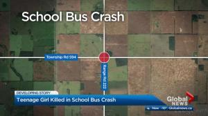 Teenage girl killed in school bus crash north of Edmonton