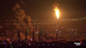 Large flare from Edmonton-area refinery