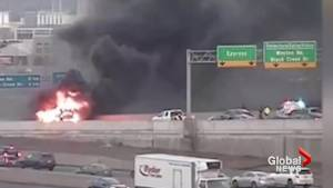 1 dead after fiery 2-vehicle crash on Highway 409