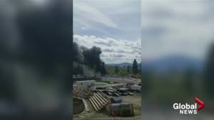 Fire at Penticton Speedway property sends black smoke skyward