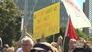 Protesters rally against changes to Ontario's sex-ed curriculum