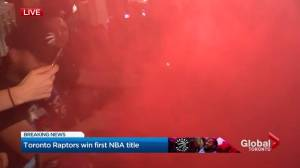 NBA Finals: Motorcyclist burns rubber in middle of crowd celebrating Raptors win