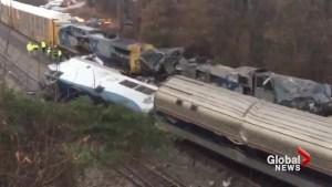 Aftermath of Amtrak passenger train derailment