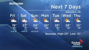 Global Edmonton weather forecast: July 18