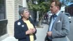 Bill Hutchins walks and talks with mayoral candidate Vicki Schmolka
