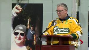 Humboldt Broncos president speaks at funeral for Mark Cross