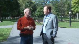 Bill Hutchins walks and talks with mayoral candidate Rob Matheson