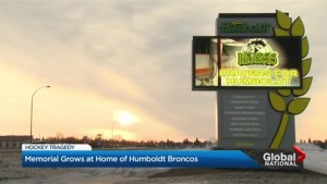 Memorial grows at Saskatchewan arena for Humboldt Broncos