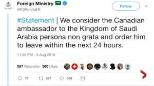 Saudi Arabia restricts Canada trade, recalls ambassador