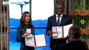 Nobel Peace Prize winners receive awards for work to combat use of sexual violence in war