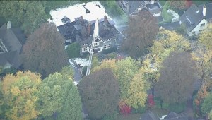 A vacant mansion in Vancouver goes up in flames.