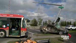 2 people taken to hospital after Calgary Transit bus and car collide