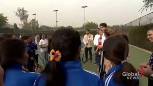Justin Trudeau takes part in event in India with country's women's hockey team
