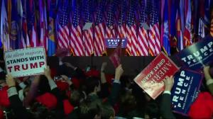 Crowd cheers at Trump headquarters on news Hillary Clinton concedes