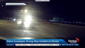 Police investigate wrong-way driver caught on dash-cam