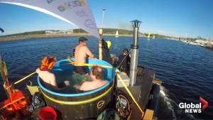Finnish inventor sails 90 kms in floating hot tub