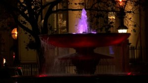 Landmark fountain in UK lit up with colours of French flag