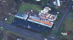 Properties damaged Port Orchard, Washington by high winds and a possible tornado