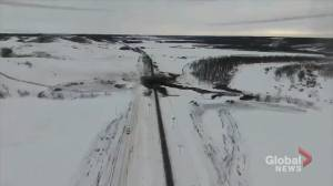 Drone video reveals spreading oil spill after CN train derails