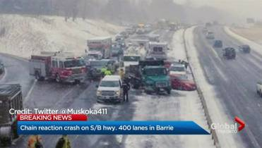 Hwy  400 near Barrie reopens after up to 50 vehicles involved in
