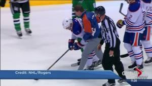 Oilers Matt Hendricks hit in groin by puck