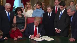 Trump inauguration: President signs executive orders as first official act