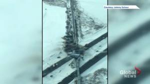 Aerial footage of train derailment north of Saskatoon