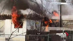 Viewer captures footage of Penhold mobile home fire